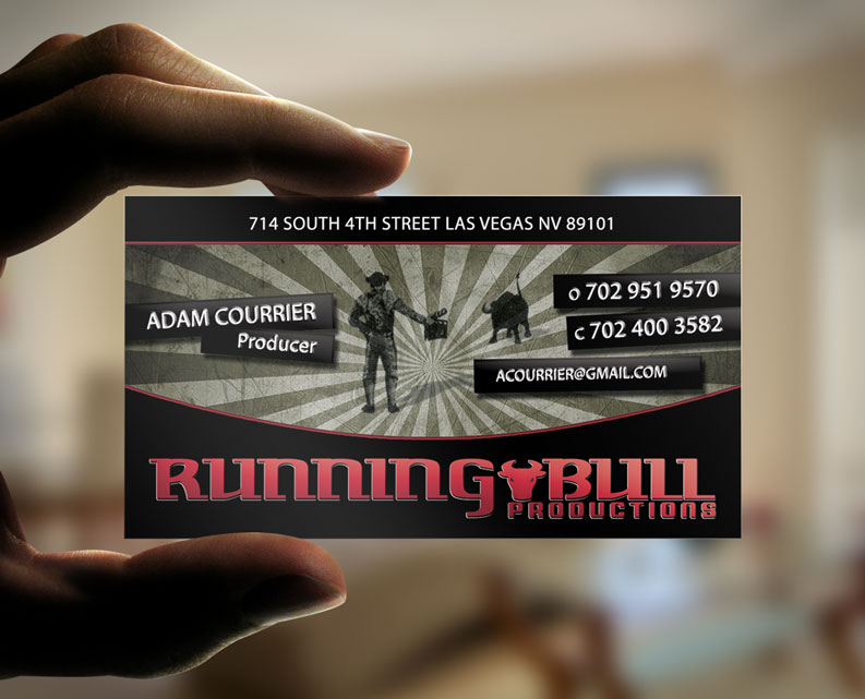 Running bull productions cards dre5 productions las vegas video running bull productions business cards designed by dre5 productions reheart Images